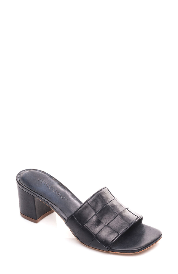 Bernardo Bridget Block Heel Sandal In Marine Leather