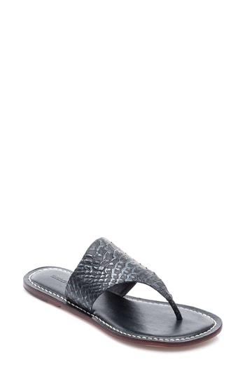 Bernardo Monica Thong Sandal In Black Snake Print Leather