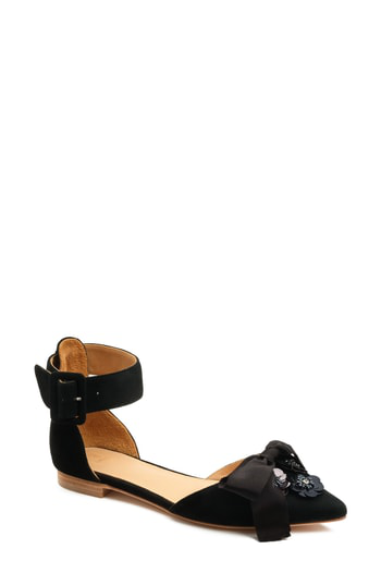 Bill Blass Sylvie Ankle Strap Embellished Flat In Black Suede