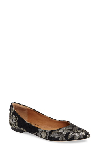 Corso Como Julia Pointy Toe Flat In Black Brocade Leather