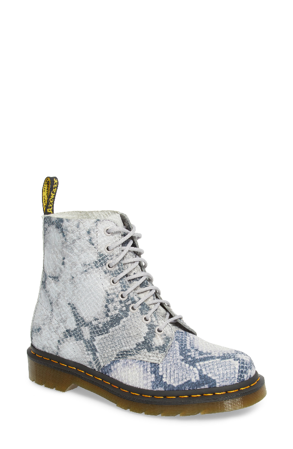 Dr. Martens Pascal Snake Boot In Light Grey Leather