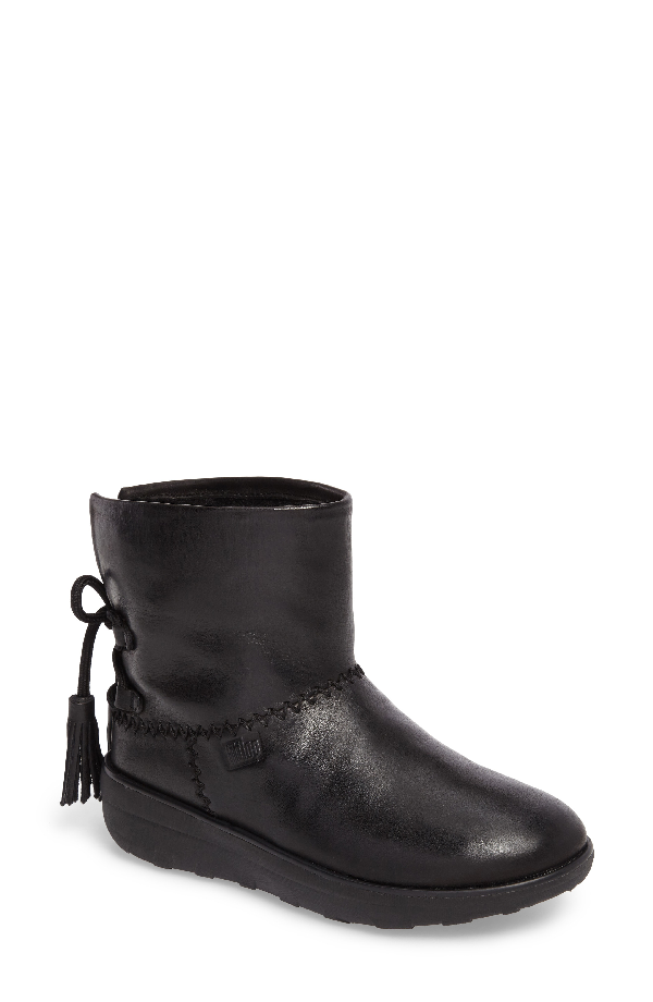 Fitflop Mukluk Shorty Ii Boot With Genuine Shearling Lining In All Black