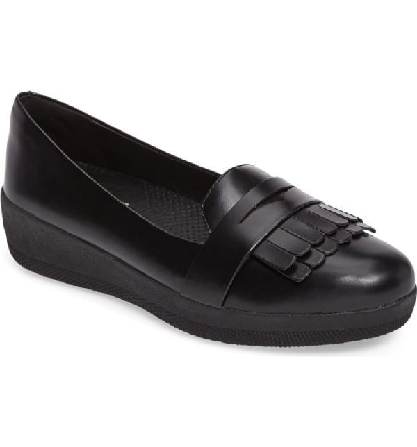 Fitflop Fringey Loafer In All Black Leather