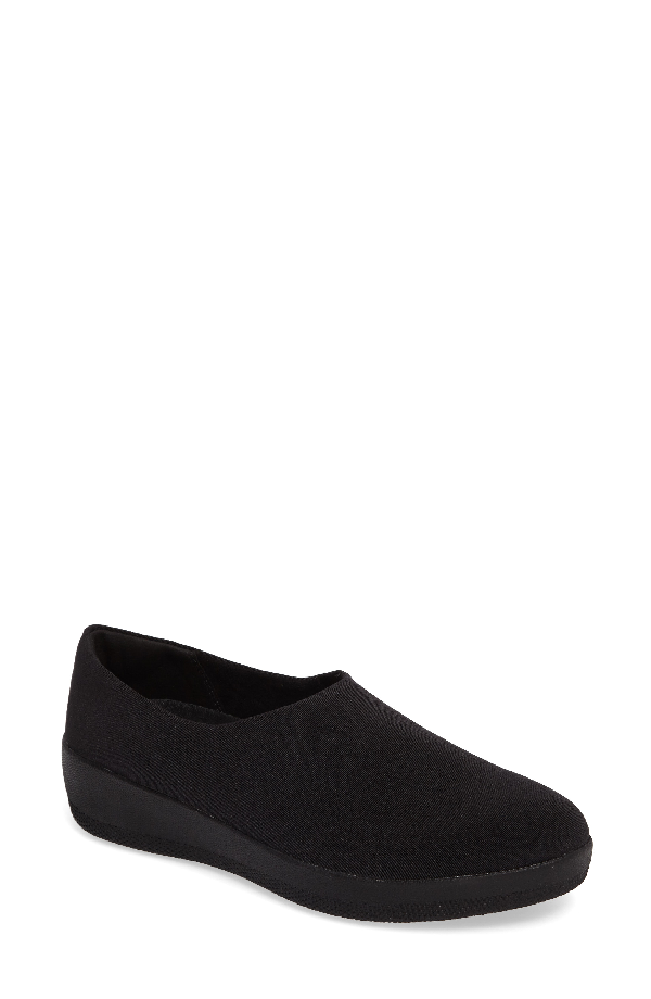 Fitflop Superstretch Bobby Loafer In All Black Faux Leather