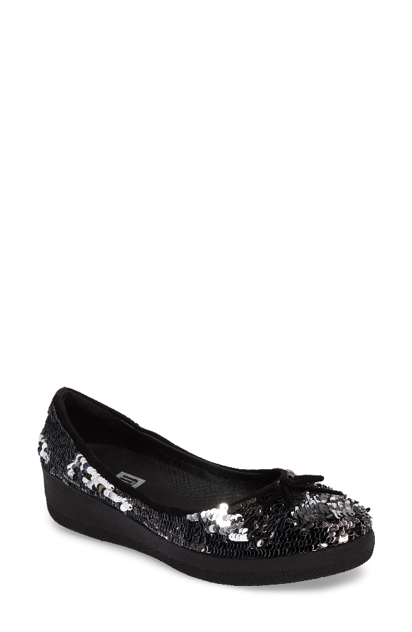 Fitflop Superballerina Sequin Ballet Flat In Black Fabric
