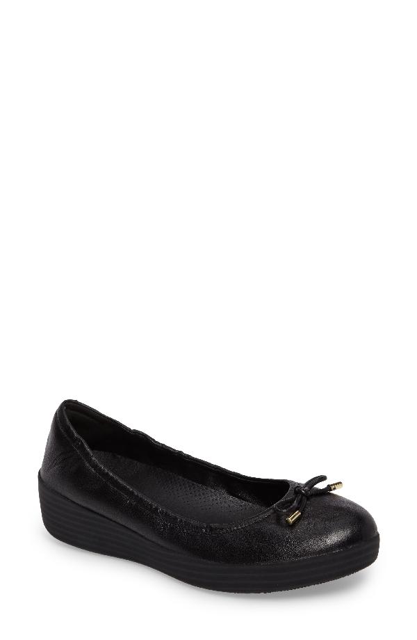 Fitflop Superbendy Ballerina Flat In Black Leather