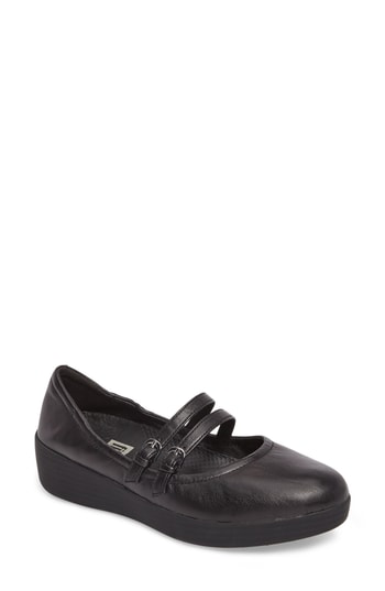 Fitflop Superbendy(tm) Mary Jane Flat In Black Leather