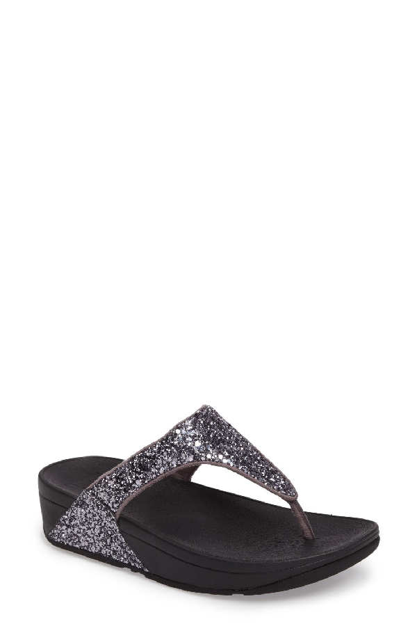 Fitflop Glitterball(tm) Thong Sandal In Pewter Fabric