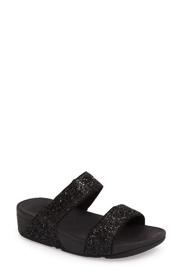 Fitflop Glitterball Slide Sandal In Black Fabric