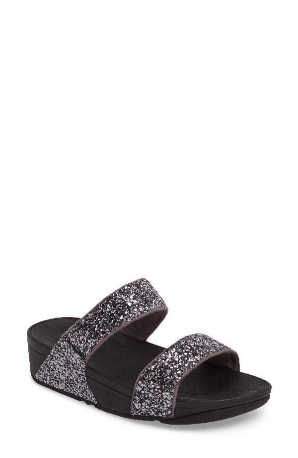 Fitflop Glitterball Slide Sandal In Pewter Fabric