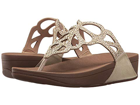 Fitflop Bumble Crystal Flip Flop In Gold