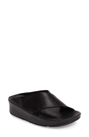 Fitflop Kys Backless Platform Wedge In Black Leather