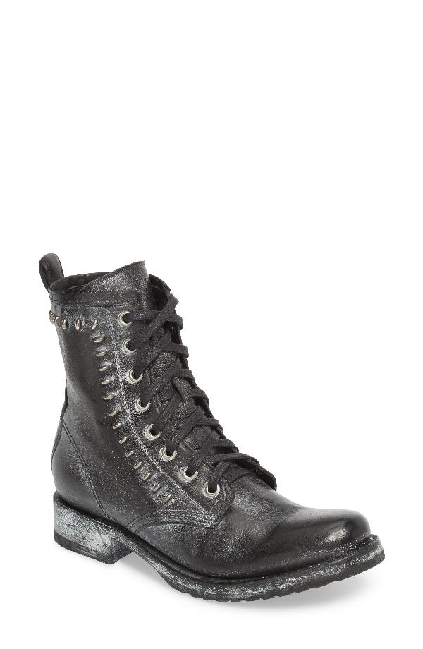 Frye Veronica Rebel Combat Boot In Black