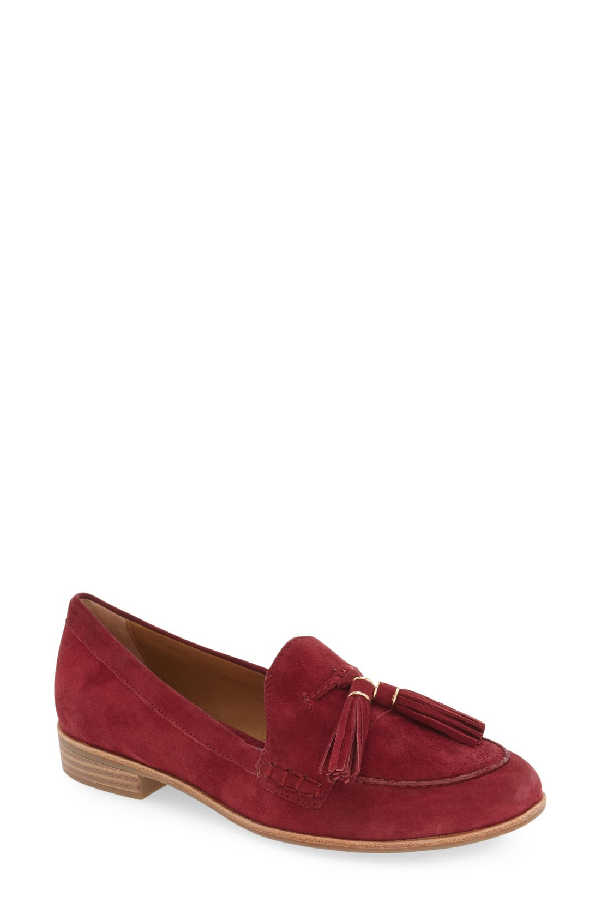 G.h. Bass & Co. 'estelle' Tassel Loafer In Cherry Red Suede