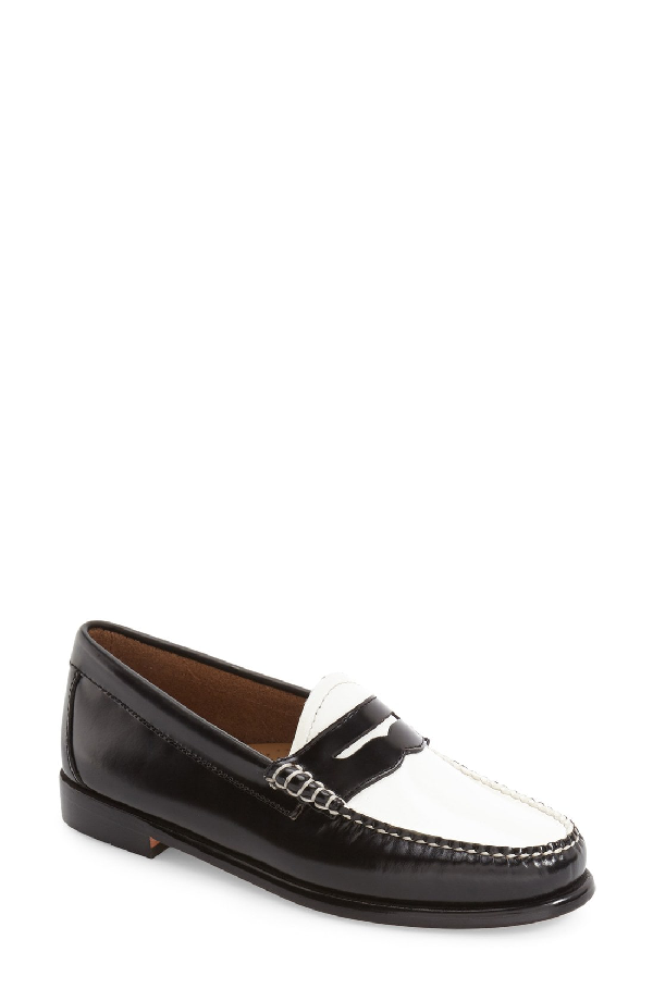 G.h. Bass & Co. Women's Weejuns Whitney Penny Loafers Women's Shoes In Black/ White Leather