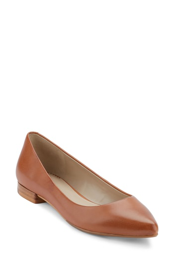 G.h. Bass & Co. Kayla Pointy Toe Flat In Cognac Leather
