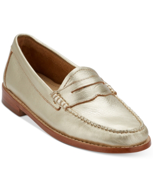 G.h. Bass & Co. Women's Weejuns Whitney Penny Loafers Women's Shoes In Gold