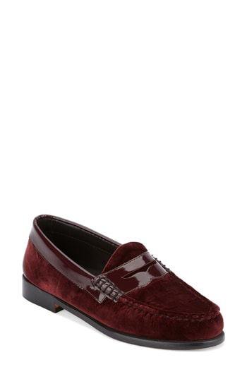 G.h. Bass & Co. 'whitney' Loafer In Wine Velvet