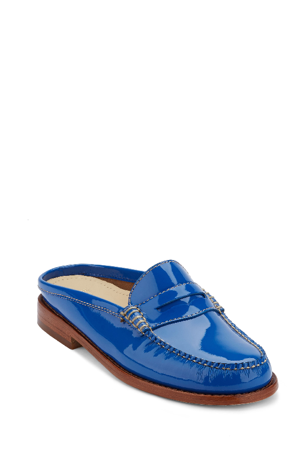 G.h. Bass & Co. Wynn Loafer Mule In Light Blue Patent