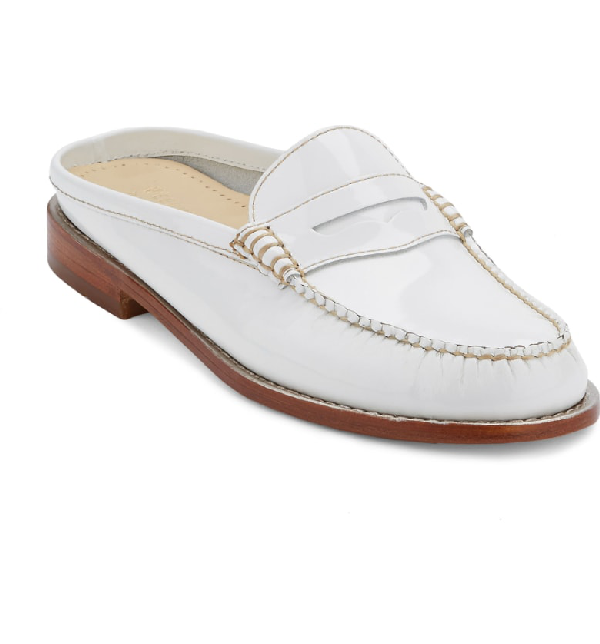 G.h. Bass & Co. Wynn Loafer Mule In White Leather