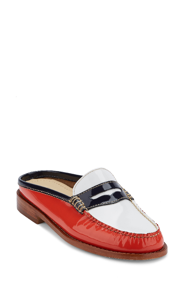G.h. Bass & Co. Wynn Loafer Mule In Poppy/ White Leather
