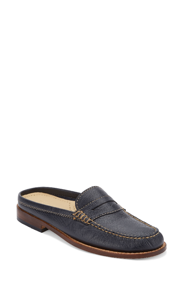 G.h. Bass & Co. Wynn Loafer Mule In Navy Leather