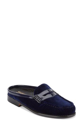 G.h. Bass & Co. Wynn Loafer Mule In Navy Velvet