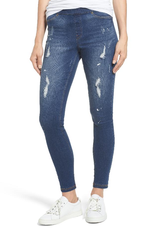 Hue Paint Splatter Denim Leggings In Medium Wash