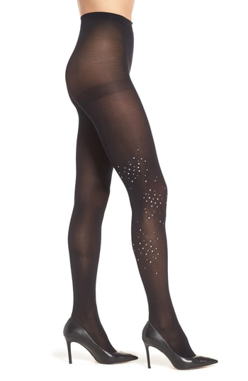 Hue Rhinestone Cluster Tights In Clear