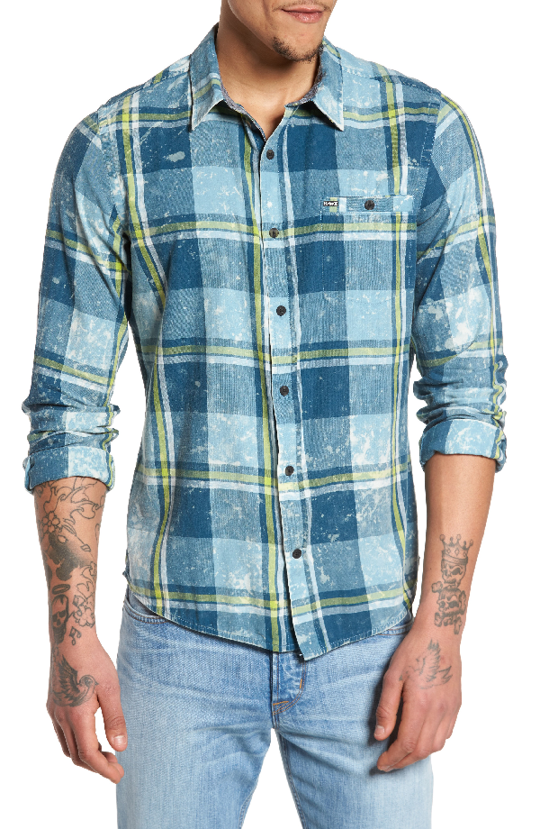 Hurley Burnside Plaid Shirt In Space Blue
