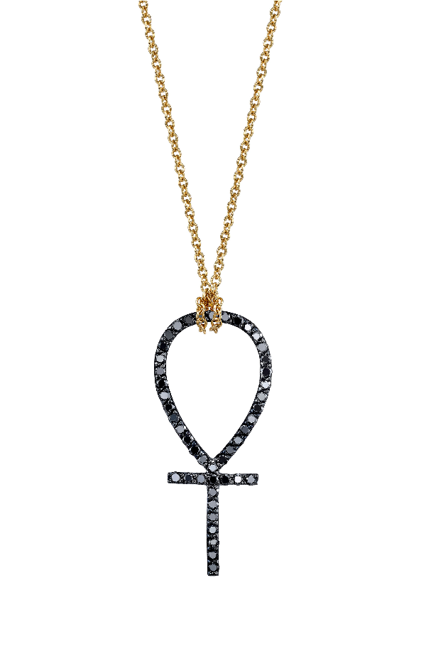Iconery X Rashida Jones Black Diamond Ankh Pendant Necklace In Yellow Gold
