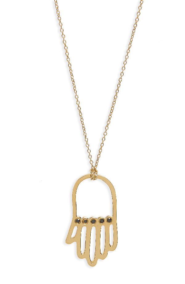 Iconery X Rashida Jones Black Diamond Hamsa Pendant Necklace In Yellow Gold