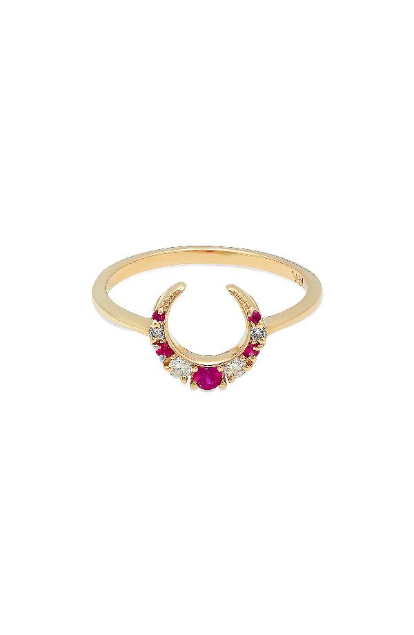Iconery X Stone Fox Crescent Diamond & Stone Ring In Yellow Gold/ Ruby