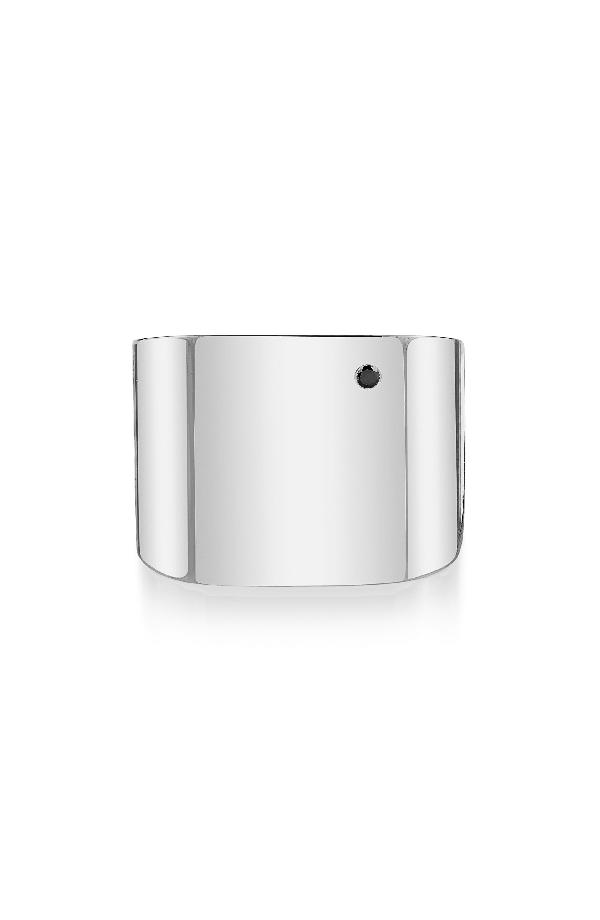 Iconery X Rashida Jones Square Cigar Band Ring In Sterling Silver