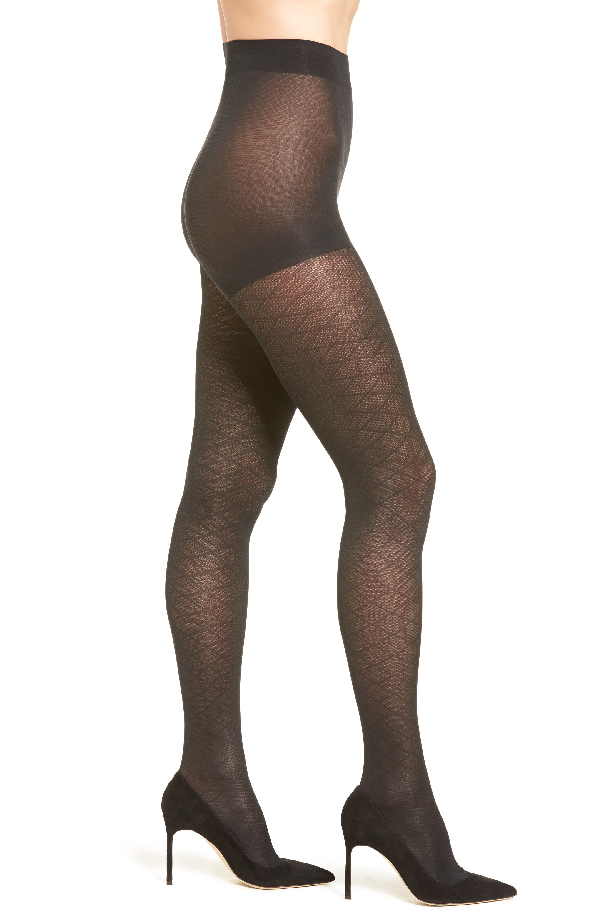 Item M6 Diana Diamond Pattern Tights In Black