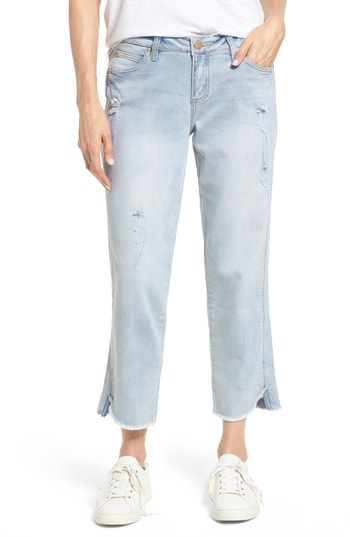 Jag Jeans Logan Raw Step Hem Straight Leg Jeans In Cool Blue
