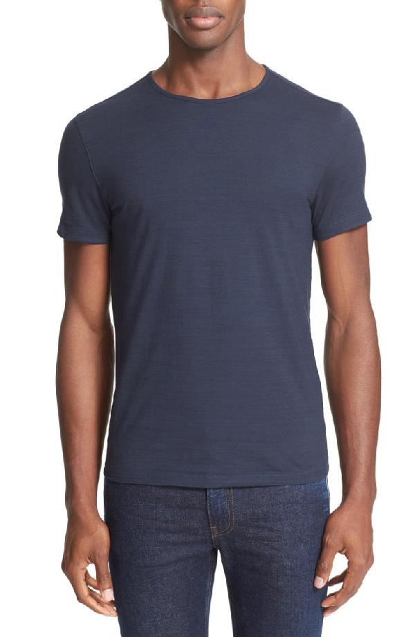 John Varvatos Slub Slim Fit Pima Cotton T-shirt In Indigo