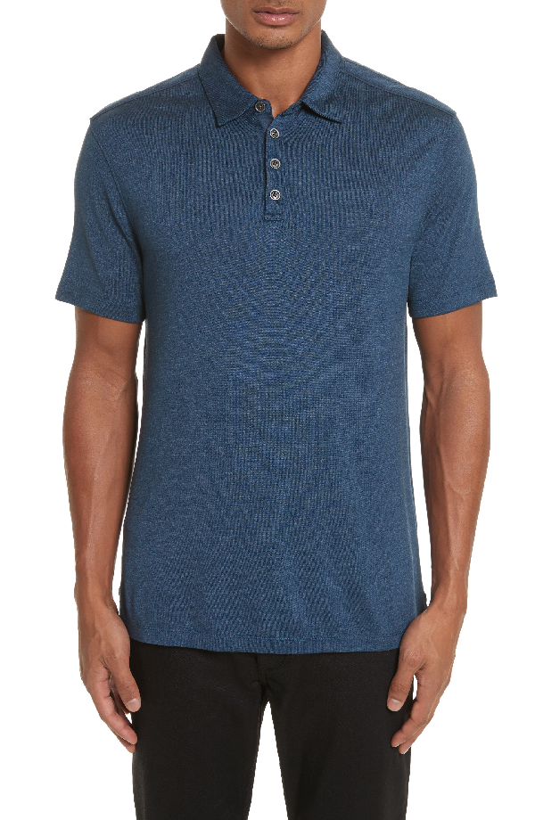 John Varvatos Hampton Polo In Lake Blue