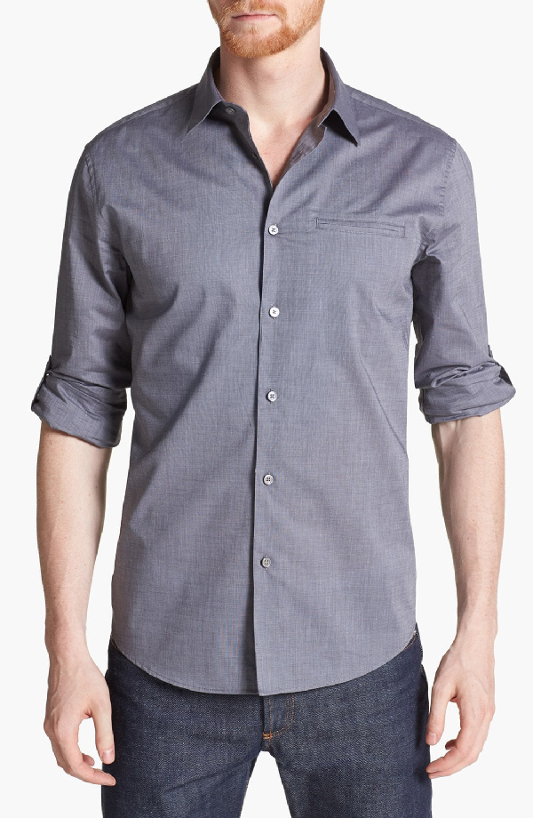 John Varvatos Slim Fit Cotton Woven Shirt In Thunder