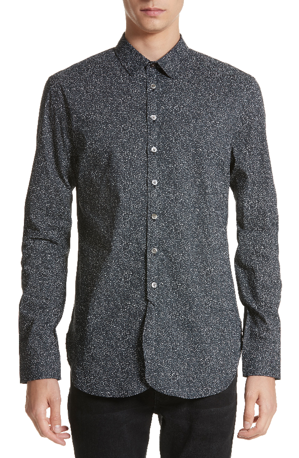 John Varvatos Dot Print Shirt In Black/white