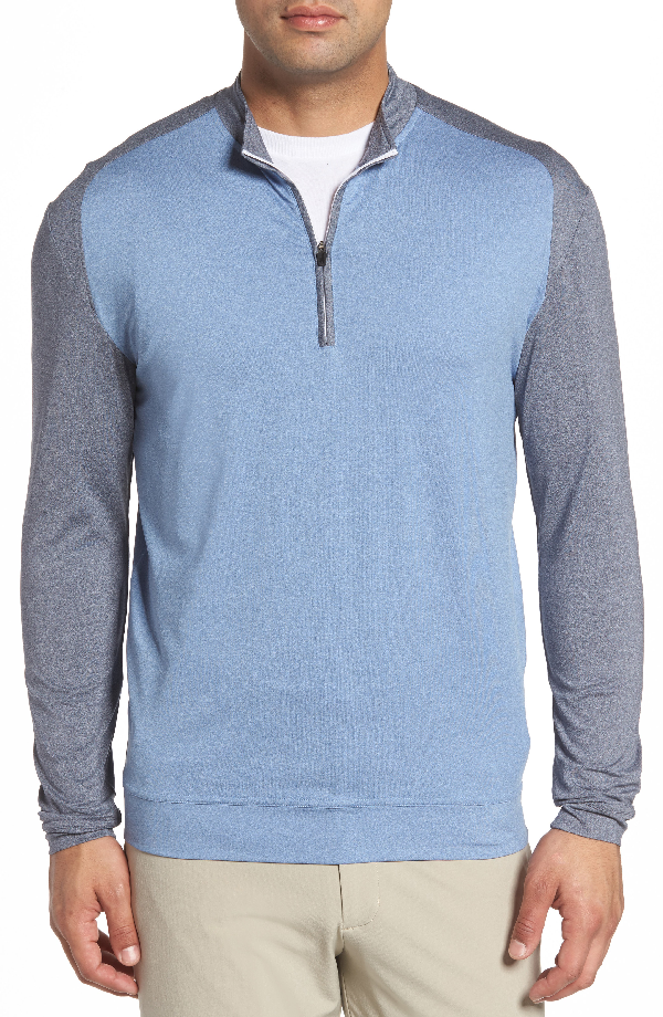 Johnnie-o Sway Classic Fit Zip Raglan Pullover In Abyss