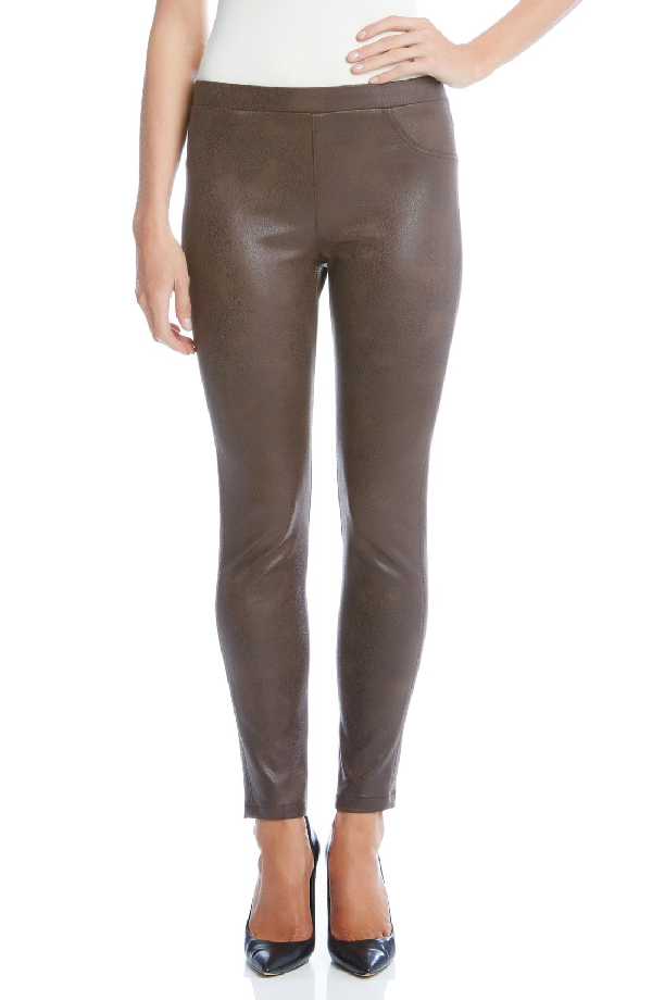 Karen Kane Karen Karen Stretch Faux Leather Skinny Pants In Brown