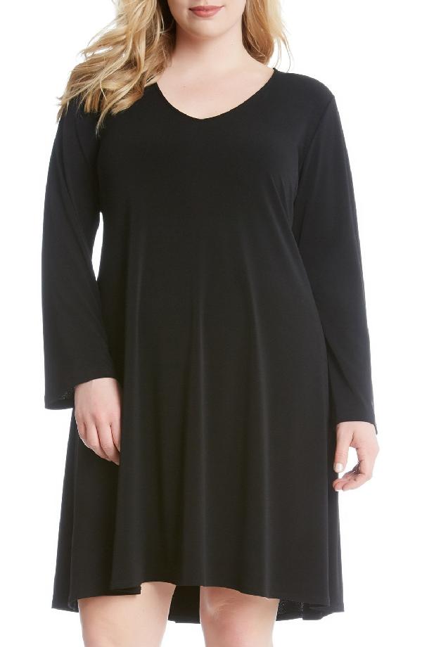 Karen Kane 'taylor' Long Sleeve A-line Dress In Black