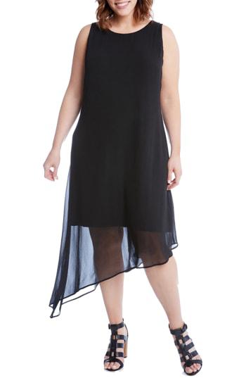 Karen Kane Asymmetrical Overlay Shift Dress In Black