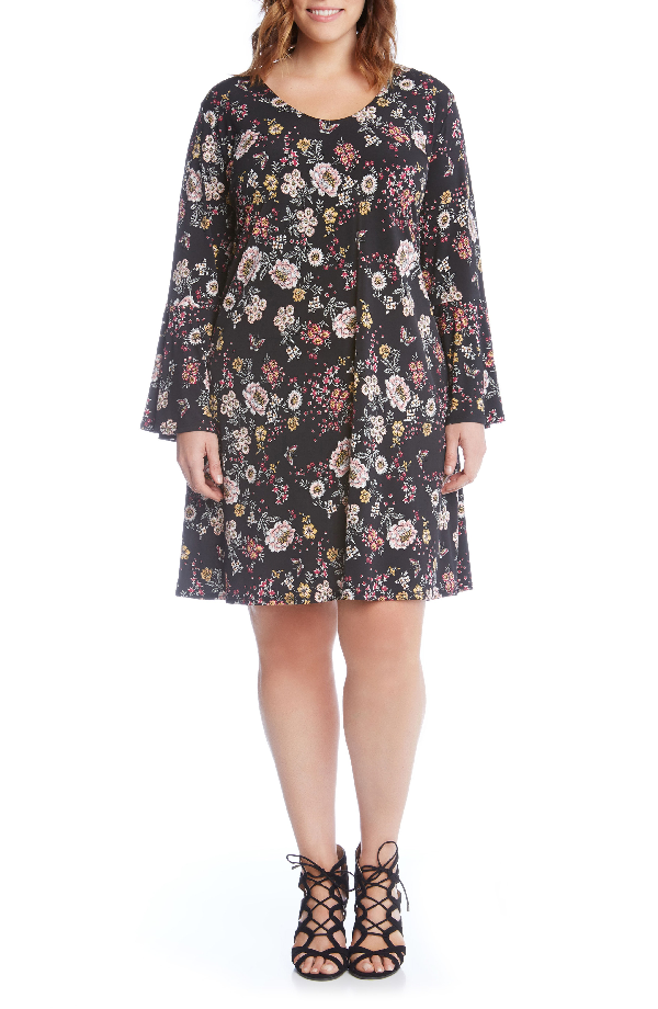Karen Kane Taylor Floral A-line Dress In Pink