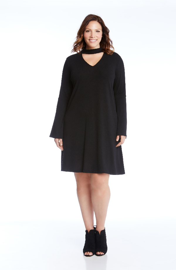 Karen Kane Taylor Choker Neck A-line Dress In Black