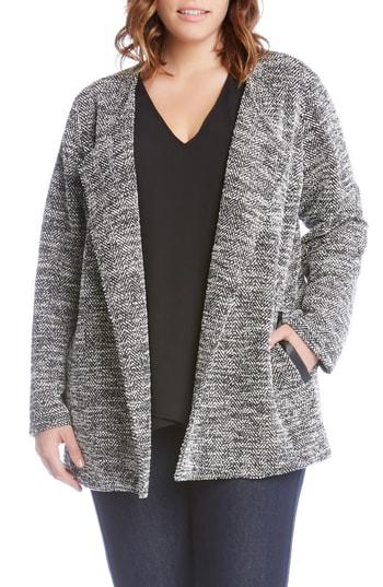 Karen Kane Lightweight Tweed Knit Jacket In Black