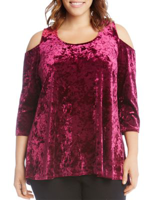 Karen Kane Cold-shoulder Velvet Top In Berry
