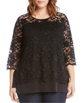 Karen Kane Lace Overlay Jersey Top In Black