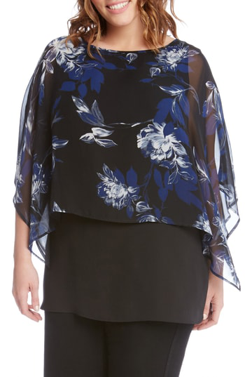 Karen Kane Floral Print Double Layer Boat Neck Top